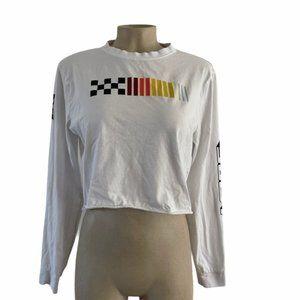 VANS White Colored Long Sleeve Crop Top Medium EUC